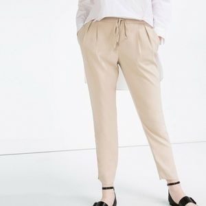 Zara Loose Fit Drawstring Beige Pants Size XS